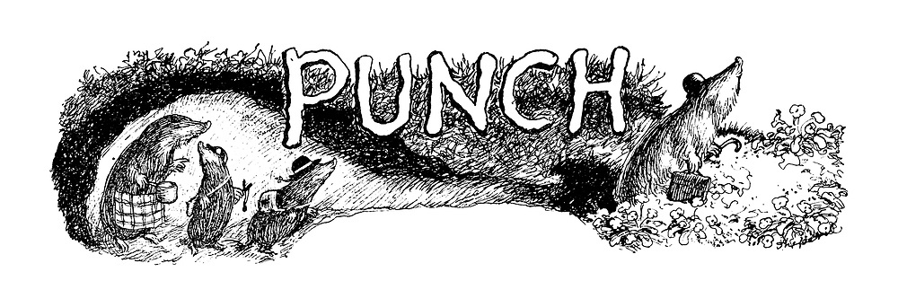 Punch Charivaria title headings (a mole family in its burrow)