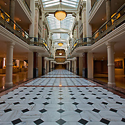 A grand, marbled floor of the National Portrait Gallery, once the landmark Old Patent Office and now part of the Smithsonian Institution in Washington DC.