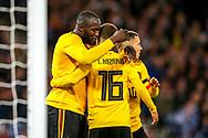 Romelu Lukaku (#9) of Belgium celebrates Belgium's first goal (0-1) with Eden Hazard (#10) of Belgium and Thorgan Hazard (#16) of Belgium during the International Friendly match between Scotland and Belgium at Hampden Park, Glasgow, United Kingdom on 7 September 2018.