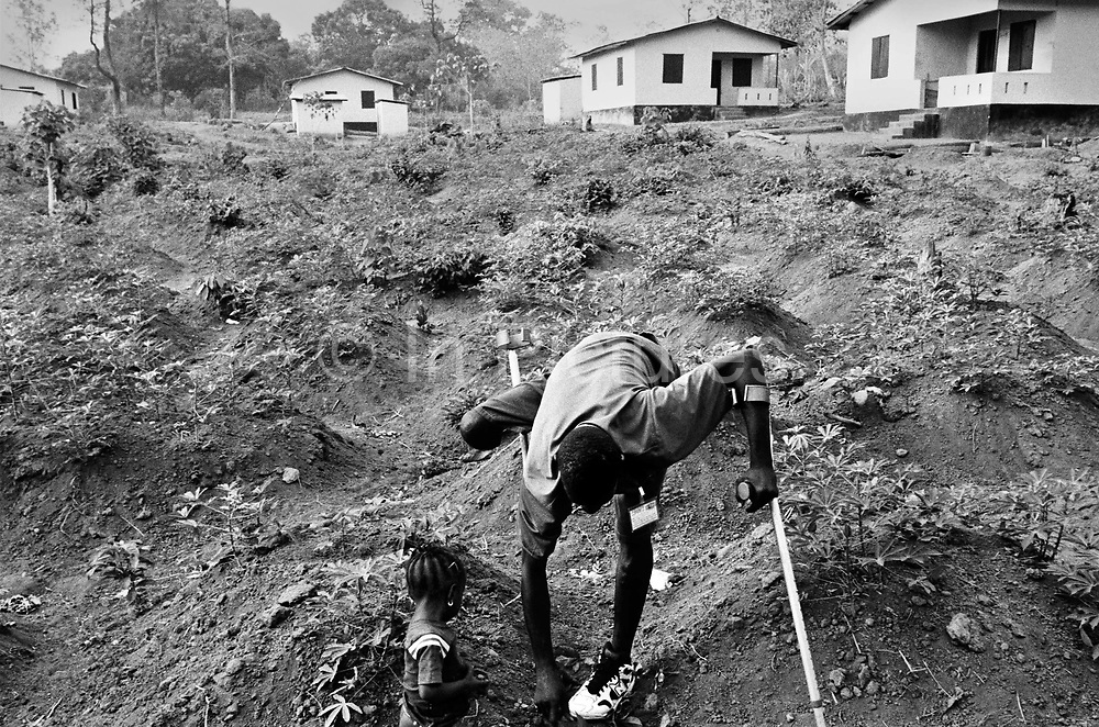 Ibrahim and his daughter pull weeds from their plot of land in front of their House in Makeni resettlement village for amputees, Makeni, Sierra Leone 2004<br /> Rebel forces, the Revolutionary United Front in Sierra Leone, systematically murdered, mutilated, and raped civilians during the country's civil war as a policy of terror