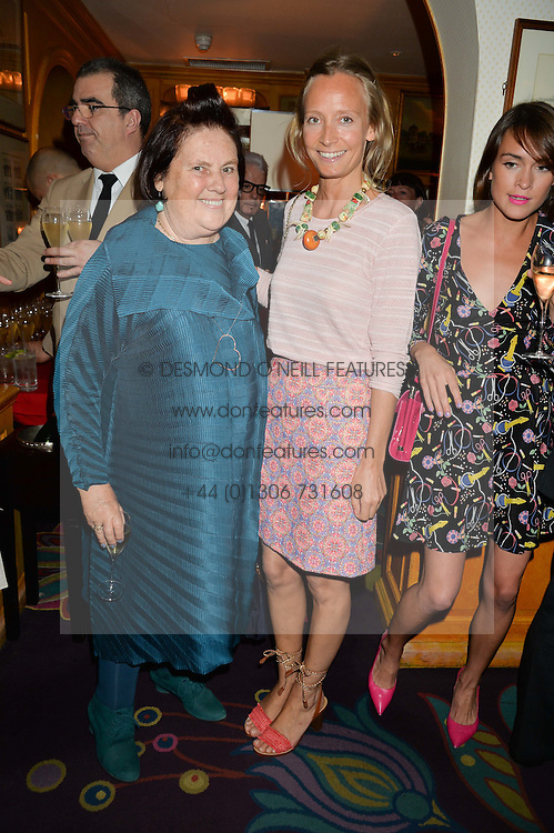 Left to right, SUZI MENKES and MARTHA WARD at an exclusive dinner for Iris Apfel held at Annabel's, Berkeley Square, London on 29th July 2015.