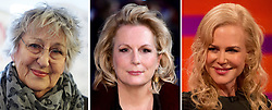 Undated file photos of (left to right) Germaine Greer, Jennifer Saunders and Nicole Kidman.