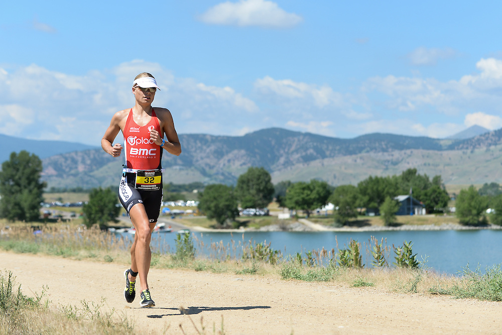 Female pro Helle Frederiksen on the run course during the 2014 Boulder Peak Triathlon. <br /> <br /> Video of the run course - https://www.youtube.com/watch?v=AUgH4eIiVfs