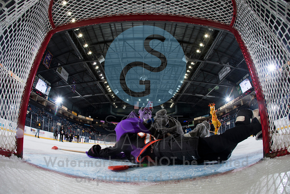 The Youngstown Phantoms defeat the Chicago Steel 5-2 at the Covelli Centre on January 23, 2021.<br /> <br /> Phantom, mascot; Sparky, mascot