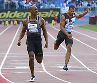James Dasaolu GBR Winner 100m Men, Patrick van Luijk NED  <br /> Roma 02-06-2016 Stadio Olimpico.<br /> IAAF Diamond League 2016<br /> Atletica Legera <br /> Golden Gala Meeting - Track and Field Athletics Meeting<br /> Foto Cesare Purini / Insidefoto