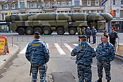 Moscow, Russia, 09/05/2008..A Russian Topol-M ICBM surrounded by police on its way to Red Square during the 63rd Victory Day celebrations, marking the end of the Second World War, referred to in Russia as the Great Patriotic War.