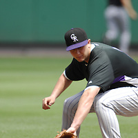 21 July 2007:  Colorado Rockies shortstop Troy Tulowitzki (2) warms up prior to the game against the Washington Nationals.  The Nationals defeated the Rockies 3-0 at RFK Stadium in Washington, D.C.  ****For Editorial Use Only****
