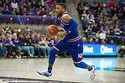 FORT WORTH, TX - FEBRUARY 6: Frank Mason III #0 of the Kansas Jayhawks brings the ball up court against the TCU Horned Frogs on February 6, 2016 at the Ed and Rae Schollmaier Arena in Fort Worth, Texas.  (Photo by Cooper Neill/Getty Images) *** Local Caption *** Frank Mason III