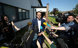 Taoiseach Leo Varadkar speaks to the media after casting his vote at Scoil Thomas, Castlenock Dublin, as the country goes to the polls to vote in the referendum on the 8th Amendment of the Irish Constitution.