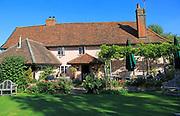 The Bell pub garden, Cretingham, Suffolk, England, UK
