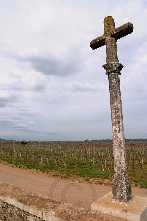 the stone cross in la romanee conti vosne-romanee cote de nuits burgundy france