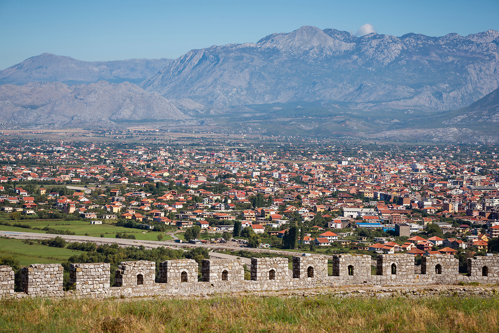The view from Rozafa Castle, also known as Shkodër Castle, in Shkodër, Albania.<br /><br />(September 2013)