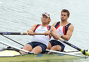 Munich, GERMANY, GBR M2. Bow. Peter REED and Andy TRIGGS HODGE. Move away from the pontoon in theTime trial heat men's pair, at the FISA World Cup on the Munich Olympic Rowing Course, Friday  27/05/2011  [Mandatory Credit Peter Spurrier/ Intersport Images]