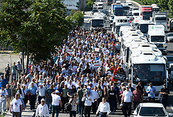 June 16, 2017 - °Zmir, Türkiye - The leader of Turkey's main opposition party The Republican People's Party (CHP) leader Kemal Kilicdaroglu  is on the 2nd day of ''Justice March'' from Ankara to Istanbul, a 430 km long march. Kilicdaroglu  launched a 400-kilometer march from Ankara to Istanbul Thursday, a day after one of its deputies was given a a prison sentence on espionage charges. The Republican People's Party (CHP) leader Kemal Kilicdaroglu, joined by several thousand protesters, began the ''Justice March'' from the Guvenpark at the Kızılay Square in central Ankara. The march came as a protest after CHP's Istanbul deputy Enis Berberoglu was sentenced to 25 years in jail for leaking secret documents to the press in the controversial National Intelligence Organization (MIT) trucks case. Berberoglu was accused of supplying confidential footage of a raid on MIT trucks, carried out by the Gülenist terror group (FETO), to Cumhuriyet daily's former editor-in-chief Can Dundar and its Ankara representative Erdem Gul. (Credit Image: © Depo Photos via ZUMA Wire)