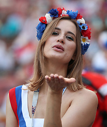 MOSCOW, July 1, 2018  A fan of Russia is seen prior to the 2018 FIFA World Cup round of 16 match between Spain and Russia in Moscow, Russia, July 1, 2018. (Credit Image: © Cao Can/Xinhua via ZUMA Wire)