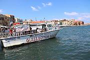 Heraklion, Crete Island Greece, Glass Bottom Boat in the Old harbour