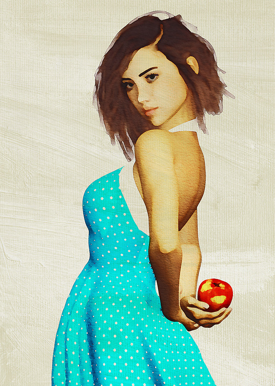 This charming fine art creation depicts a young woman with an apple. She is hiding the apple behind her back, leading us to wonder what she is up to. We look at her eyes. We study the way her brilliant blue dress seems to be in the middle of some sort of motion. She is a stunning young woman who is in complete control of her destiny. She is in good spirits. There is no question that whoever is with her is probably in good spirits, as well. This is a scene that can take you back to the prime moments of your youth. <br /> <br /> BUY THIS PRINT AT<br /> <br /> FINE ART AMERICA<br /> ENGLISH<br /> https://janke.pixels.com/collections/portraits<br /> <br /> <br /> WADM / OH MY PRINTS<br /> DUTCH / FRENCH / GERMAN<br /> https://www.werkaandemuur.nl/nl/shopalbum/Vrouwen-van-de-wereld/1846/35242