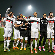 Besiktas's players celebrate victory during their Turkish superleague soccer match Gaziantepspor between Besiktas at the Kamil Ocak stadium in Gaziantep Turkey on Sunday 14 December 2014. Photo by Kurtulus YILMAZ/TURKPIX