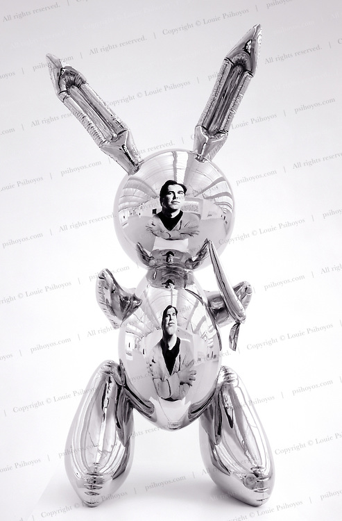 """Jeff Koons and rabbit of stainless steel (41""""x19""""x12"""") molded after an inflatable rabbit.  I photographed Koons in my Manhattan studio, blew up an eight foot print of Koons, flew it to the Satchi Museum and photogrpahed his portrait with a 4x5 camera through a hole cut out in the neck of his shirt.  For the series """"Portraits of Artists in the style of their own work."""""""
