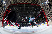 KELOWNA, CANADA - FEBRUARY 8:  Alex Swetlikoff #17 of the Kelowna Rockets looks for the pass in front of the net against the Prince George Cougars on February 8, 2019 at Prospera Place in Kelowna, British Columbia, Canada.  (Photo by Marissa Baecker/Shoot the Breeze)