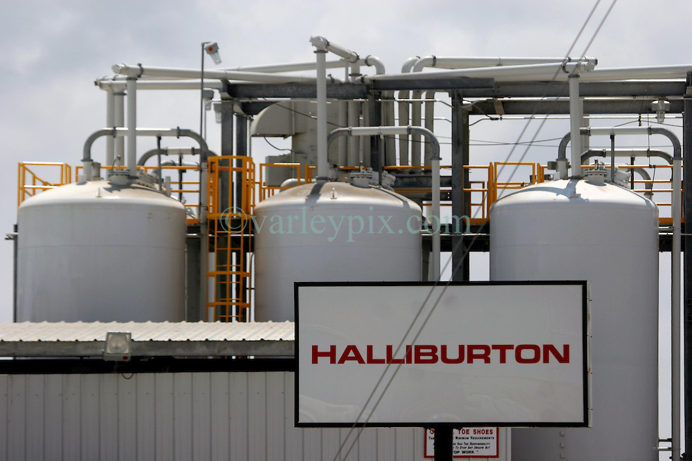 05 May 2010. Venice, Louisiana. Deepwater Horizon, British Petroleum environmental oil spill disaster.<br /> Ubiquitous Halliburton has a hand in many things oil and gas and shares the blame with BP for responsibility for its part in the failed Deepwater Horizon oil rig collapse. Halliburton's facility was off limits to the media at the time this image was shot. To gain access one must arrange for a representative from the coastguard to escort you. The cost guard puts you on a list and then it's 'hurry up and wait.' They never did return my call.<br /> Photo credit; Charlie Varley/varleypix.com