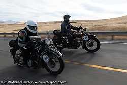 Peter Arundel passing Darryl Richman on the Motorcycle Cannonball coast to coast vintage run. Stage 13 (254 miles) Kalispell, MT to Spokane, WA. Friday September 21, 2018. Photography ©2018 Michael Lichter.
