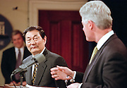US President Bill Clinton holds a joint press conference with Chinese Premier Zhu Rongji at the White House April 8, 1999 in Washington D.C.