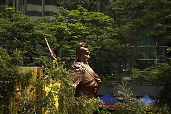 June 22, 2017 - Hong Kong, CHINA - A large bronze cast statue of Guan Gong, a much worshipped Chinese folk hero ( Warrior God ) that stands 6 meters tall is on public display at the financial centre in Central, Hong Kong to mark the celebration of 20th anniversary of Hong Kongs HANDOVER to China. June 22, 2017.Hong Kong.ZUMA/Liau Chung Ren (Credit Image: © Liau Chung Ren via ZUMA Wire)