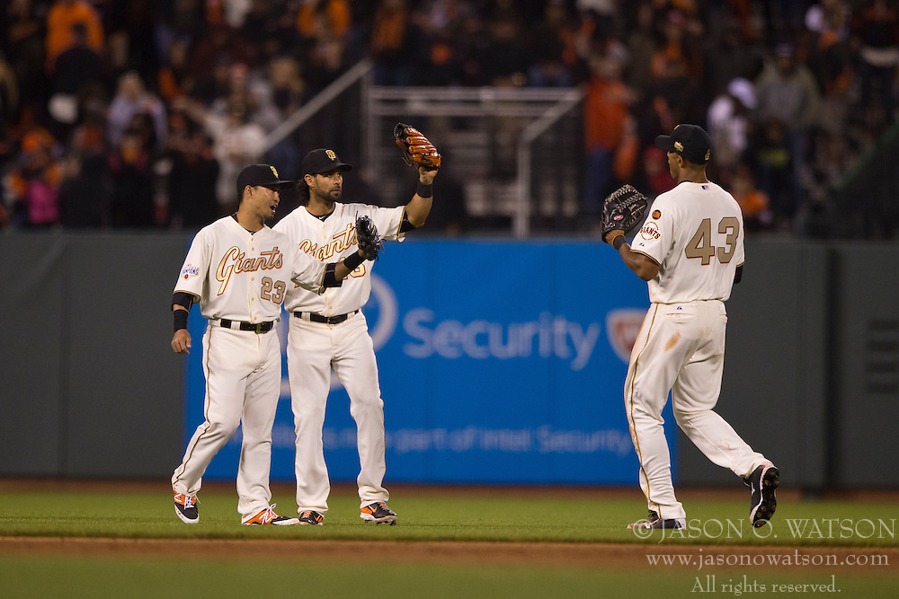 SAN FRANCISCO, CA - APRIL 18:  Justin Maxwell #43 of the San Francisco Giants celebrates with Nori Aoki #23 and Angel Pagan #16 after the game against the Arizona Diamondbacks at AT&T Park on April 18, 2015 in San Francisco, California.  The San Francisco Giants defeated the Arizona Diamondbacks 4-1. (Photo by Jason O. Watson/Getty Images) *** Local Caption *** Justin Maxwell; Nori Aoki; Angel Pagan