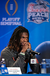 Members of the Oklahoma Sooners speak with the media on Tuesday, Dec. 24, in Atlanta. LSU will face Oklahoma in the 2019 College Football Playoff Semifinal at the Chick-fil-A Peach Bowl. (Paul Abell via Abell Images for the Chick-fil-A Peach Bowl)