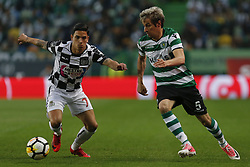 April 22, 2018 - Lisbon, Lisboa, Portugal - Sporting CP Defender Fabio Coentrao from Portugal (R) and Boavista FC Forward Renato Santos from Portugal (L) during the Premier League 2017/18 match between Sporting CP and Boavista FC, at Alvalade Stadium in Lisbon on April 22, 2018. (Credit Image: © Dpi/NurPhoto via ZUMA Press)