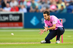 Nathan Sowter of Middlesex in action<br /> <br /> Photographer Craig Thomas/Replay Images<br /> <br /> Vitality Blast T20 - Round 4 - Glamorgan v Middlesex - Friday 26th July 2019 - Sophia Gardens - Cardiff<br /> <br /> World Copyright © Replay Images . All rights reserved. info@replayimages.co.uk - http://replayimages.co.uk
