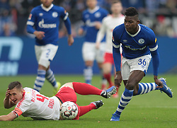 March 16, 2019 - Gelsenkirchen, Germany - Breel Embolo of Schalke, right, and Willi Orban of RB Leipzig are seen in action during the German Bundesliga soccer match between FC Schalke 04 and RB Leipzig in Gelsenkirchen. (Credit Image: © Osama Faisal/SOPA Images via ZUMA Wire)