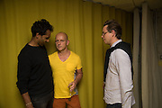STEVE HILTON CENTRE WITH THE OWNERS OF SECOND HOME, ROHAN SILVA; STEVE HILTON; SAM ALDENTON, , Launch of ' More Human',  Designing a World Where People Come First' by Steve Hilton. Party held at Second Home in Princelet St, off Brick Lane, London. 19 May 2015.