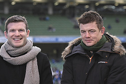 December 16, 2017 - Dublin, Ireland - Brian O'Driscoll (Right) and Gordon D'Arcy (Left) ahead of the European Rugby Champions Cup match between Leinster and Exeter Chiefs, at Aviva Stadium in Dublin...Brian O'Driscoll and Gordon D'Arcy are two former professional Rugby Union players, played for Leinster, Ireland and The Lions over a period of fifteen years. On Saturday, 16 December 2017, in Dublin, Ireland. (Credit Image: © Artur Widak/NurPhoto via ZUMA Press)