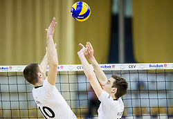 Boris Brus of Calcit and Jan Brulec of Calcit during volleyball match between ACH Volley and OK Calcit Volleyball in 10th Round of Slovenian National Championship 2014/15, on March 11, 2015 in Arena Tivoli, Ljubljana, Slovenia. Photo by Vid Ponikvar / Sportida