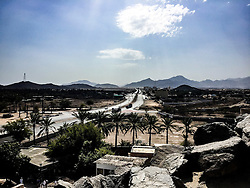 Street images from Fujairah city tour, Khor Fakkan, looking from Bidya mosque. Images from the MSC Musica cruise to the Persian Gulf, visiting Abu Dhabi, Khor al Fakkan, Khasab, Muscat, and Dubai, traveling from 13/12/2015 to 20/12/2015.