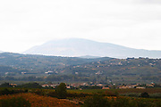 The Mont Ventoux from the north from a distance the top covered in snow. Vaucluse, France, Europe