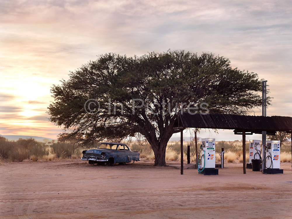 CaÒon Roadhouse, a rare petrol station and cafe, littered with vintage wreks..Gondwana Canon Park, a 100,000 hectare private reserve, Namibia
