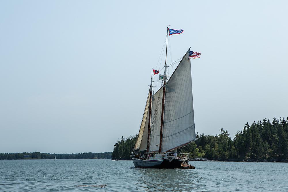 Fox Island Thorofare, ME - 11 August 2014. The windjammer schooner Stephen Taber in Fox Island Thorofare.