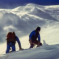 John Fischer and Jay Jensen in 100+ mph winds on 23,650' Mt. Baruntse, Khumbu Region, Nepal.