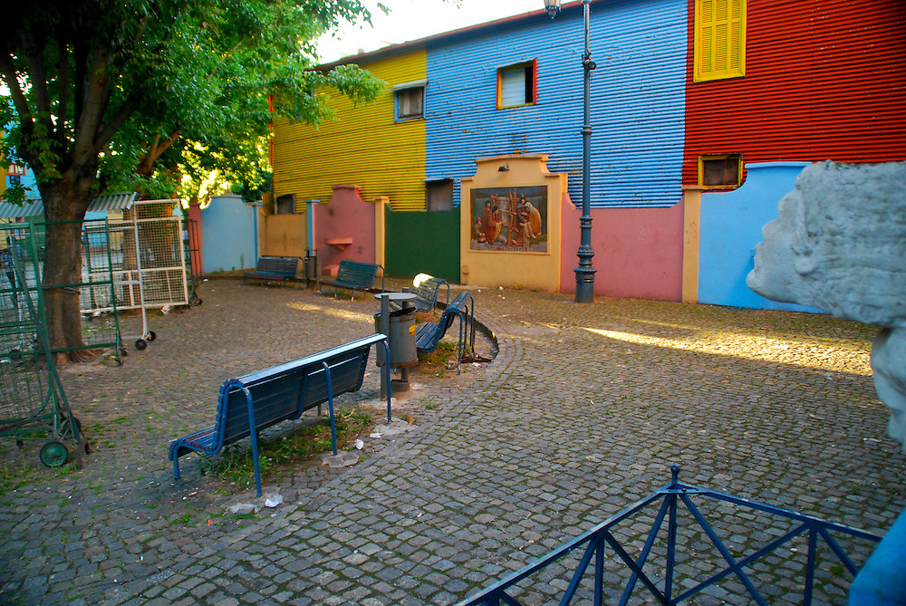 View of corner in Caminito Street, La Boca, Buenos Aires, Argentina, Caminito is one the most visited tourist attractions.