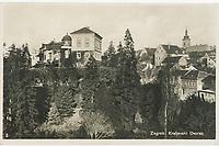Zagreb : Kraljevski dvorac. <br /> <br /> ImpresumS. l. : S. n., [193-].<br /> Materijalni opis1 razglednica : tisak ; 9 x 14 cm.<br /> Vrstavizualna građa • razglednice<br /> ZbirkaZbirka razglednica • Grafička zbirka NSK<br /> Formatimage/jpeg<br /> PredmetZagreb –– Visoka<br /> SignaturaRZG-VIS-2<br /> Obuhvat(vremenski)20. stoljeće<br /> NapomenaRazglednica nije putovala. • Razglednica prikazuje rezidenciju kralja Aleksandra Karađorđevića u Visokoj ulici br. 22 (otuda naziv Kraljev dvor). Palača je od 1887.-1930. godine u vlasništvu Guida Pongratza (otuda naziv Pongračev dvorac ili kuća). Od 1835.-1887. godine palača je u vlasništvu grofa Aleksandara Draškovića (otuda naziv Kuća Aleksandra Draškovića u Visokoj ulici br. 22).<br /> PravaJavno dobro<br /> Identifikatori000955244<br /> NBN.HRNBN: urn:nbn:hr:238:016347 <br /> <br /> Izvor: Digitalne zbirke Nacionalne i sveučilišne knjižnice u Zagrebu