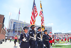 Sep 4, 2021; College Park, Maryland, USA; The United States Flag is presented pregame before a game between the West Virginia Mountaineers and the Maryland Terrapins at Capital One Field at Maryland Stadium. Mandatory Credit: Ben Queen-USA TODAY Sports