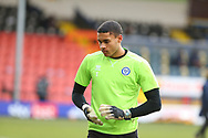 Gavin Bazunu of Rochdale (1) warm up during the EFL Sky Bet League 1 match between Rochdale and Wigan Athletic at the Crown Oil Arena, Rochdale, England on 16 January 2021.