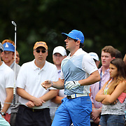 Rory McIlroy flips his club after playing his approach shot on the 12th hole during the third round of theThe Barclays Golf Tournament at The Ridgewood Country Club, Paramus, New Jersey, USA. 23rd August 2014. Photo Tim Clayton