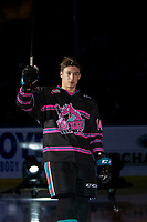 KELOWNA, BC - SEPTEMBER 21:  Elias Carmichael #14 of the Kelowna Rockets enters the ice for home opener against the Spokane Chiefs at Prospera Place on September 21, 2019 in Kelowna, Canada. (Photo by Marissa Baecker/Shoot the Breeze)