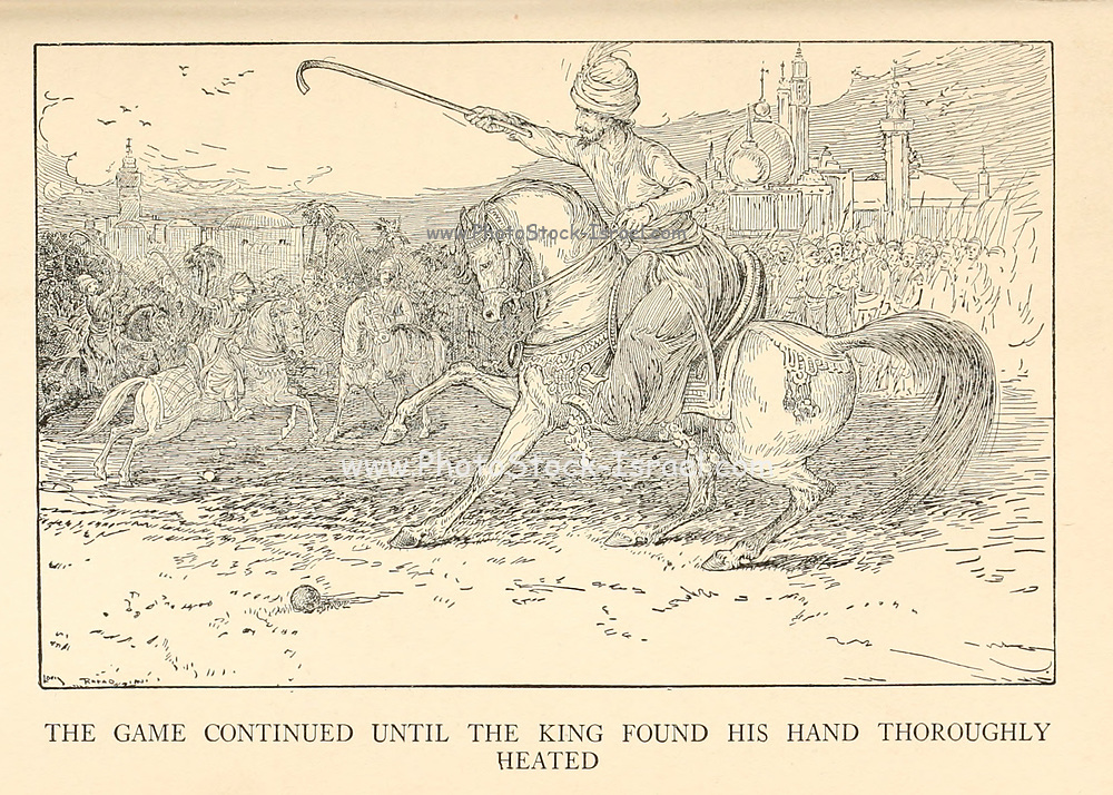 The Game Continued Until The King Found His Hand Thoroughly Heated from the book '  The Arabian nights' entertainments ' Test and Illustrations by Louis Rhead, Published  in New York by Harper & Brothers in 1916. In order to save her life, Sheherazade entertains the sultan by telling him wondrous stories