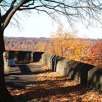 Hudson Rover overlook in Fort Tryon Park in the fall, Manhattan
