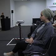 Speakers Ayse Kotan, Walla Al Husban, Sumeyye Sakarya and Sheheen Kattiparambi of  Critical Muslim Studies at Palestine Expo 2019 on 7 July 2019, at London Olympia, UK.